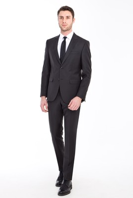 Erkek Giyim - AÇIK SİYAH 48 Beden Yünlü Klasik Takım Elbise