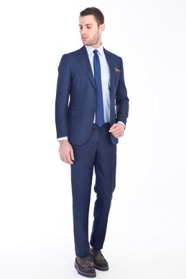 Erkek Giyim - KOYU MAVİ 46 Beden Slim Fit Kuşgözü Takım Elbise