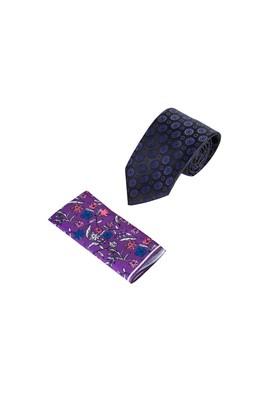 Erkek Giyim - MAVİ  Beden 2'li Kravat Mendil Set