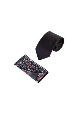 Erkek Giyim - SİYAH  Beden 2'li Kravat Mendil Set