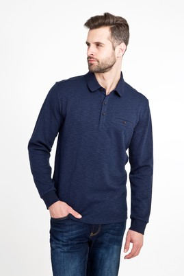 Erkek Giyim - LACİVERT XXL Beden Polo Yaka Desenli Sweatshirt
