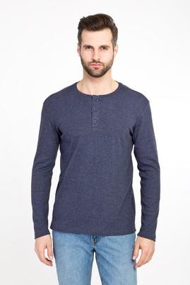 Erkek Giyim - LACİVERT XXL Beden Bisiklet Yaka Düğmeli Slim Fit Sweatshirt