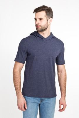 Erkek Giyim - LACİVERT L Beden Kapüşonlu Kısa Kol Slim Fit Sweatshirt