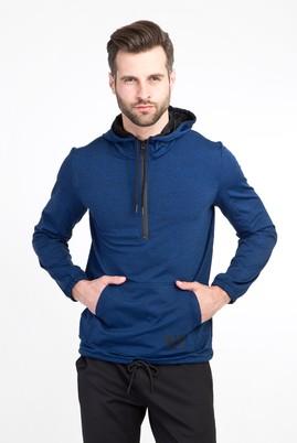 Erkek Giyim - KOYU MAVİ L Beden Kapüşonlu Fermuarlı Slim Fit Sweatshirt