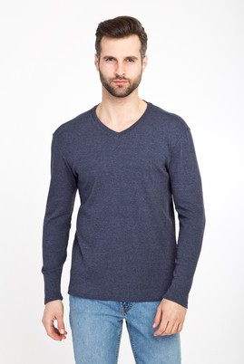 Erkek Giyim - LACİVERT XXL Beden V Yaka Slim Fit Sweatshirt