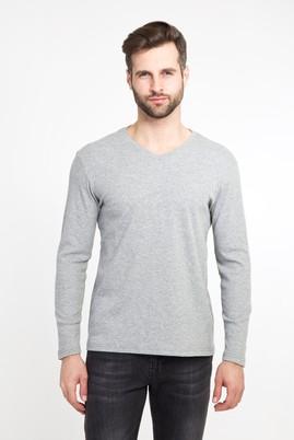 Erkek Giyim - ORTA FÜME XXL Beden V Yaka Slim Fit Sweatshirt