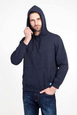Erkek Giyim - LACİVERT 3X Beden Kapüşonlu Cepli Sweatshirt