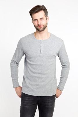 Erkek Giyim - ORTA FÜME XXL Beden Bisiklet Yaka Düğmeli Slim Fit Sweatshirt