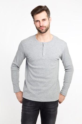 Erkek Giyim - Bisiklet Yaka Düğmeli Slim Fit Sweatshirt