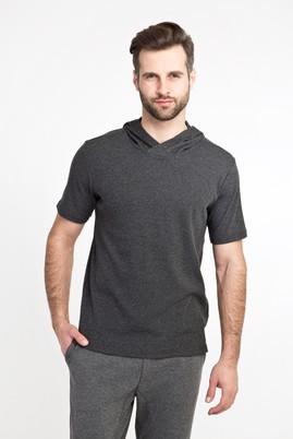 Erkek Giyim - ANTRASİT XL Beden Kapüşonlu Kısa Kol Slim Fit Sweatshirt