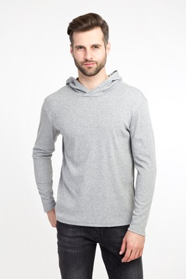 Erkek Giyim - ORTA FÜME XL Beden Kapüşonlu Slim Fit Sweatshirt