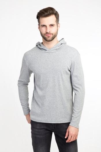 Erkek Giyim - Kapüşonlu Slim Fit Sweatshirt