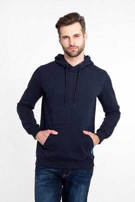 Erkek Giyim - LACİVERT XXL Beden Kapüşonlu Cepli Sweatshirt