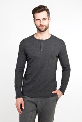 Erkek Giyim - ANTRASİT L Beden Bisiklet Yaka Düğmeli Slim Fit Sweatshirt