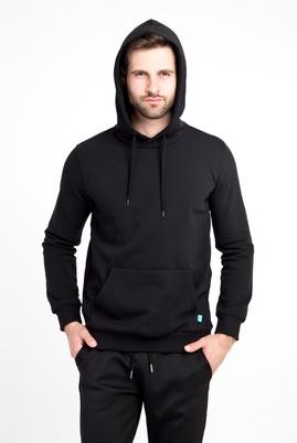Erkek Giyim - SİYAH 3X Beden Kapüşonlu Cepli Sweatshirt
