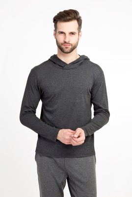 Erkek Giyim - ANTRASİT M Beden Kapüşonlu Slim Fit Sweatshirt