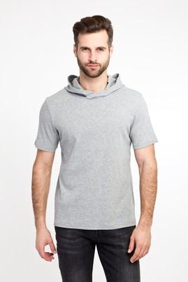 Erkek Giyim - ORTA FÜME XXL Beden Kapüşonlu Kısa Kol Slim Fit Sweatshirt