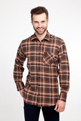 Erkek Giyim - KAHVE L Beden Uzun Kol Oduncu Gömlek