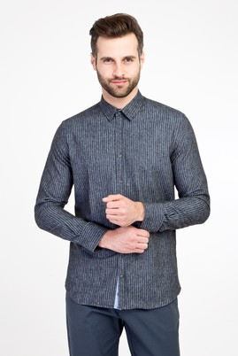 Erkek Giyim - LACİVERT L Beden Uzun Kol Oduncu Slim Fit Gömlek