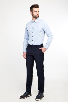Erkek Giyim - LACİVERT 46 Beden Slim Fit Yünlü Klasik Pantolon