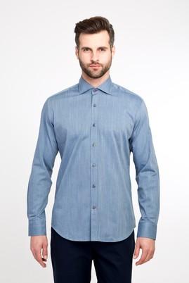 Erkek Giyim - Orta füme L Beden Uzun Kol Desenli Slim Fit Gömlek