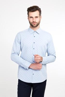 Erkek Giyim - Açık Mavi S Beden Uzun Kol Desenli Spor Gömlek
