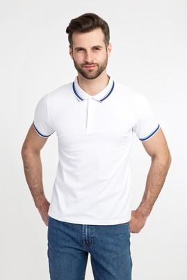 Erkek Giyim - BEYAZ L Beden Polo Yaka Nakışlı Slim Fit Tişört