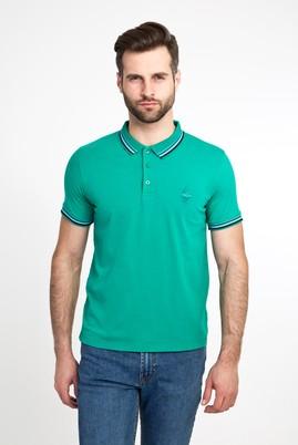 Erkek Giyim - MİNT YEŞİLİ M Beden Polo Yaka Nakışlı Slim Fit Tişört