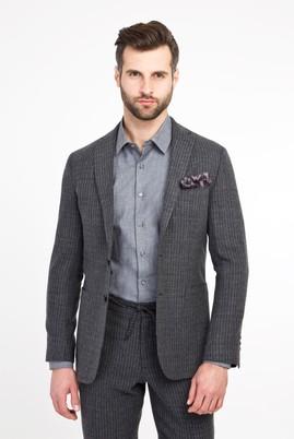 Erkek Giyim - KOYU ANTRASİT 52 Beden Slim Fit Yünlü Çizgili Spor Ceket