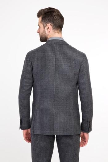 Erkek Giyim - Slim Fit Yünlü Çizgili Spor Ceket