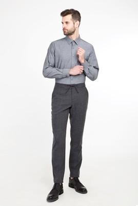 Erkek Giyim - KOYU ANTRASİT 50 Beden Slim Fit Yünlü Çizgili Pantolon