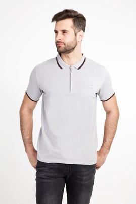 Erkek Giyim - ORTA GRİ S Beden Polo Yaka Fermuarlı Slim Fit Tişört