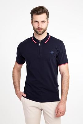 Erkek Giyim - ORTA LACİVERT L Beden Polo Yaka Fermuarlı Slim Fit Tişört