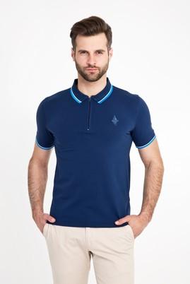 Erkek Giyim - KOYU MAVİ XL Beden Polo Yaka Fermuarlı Slim Fit Tişört