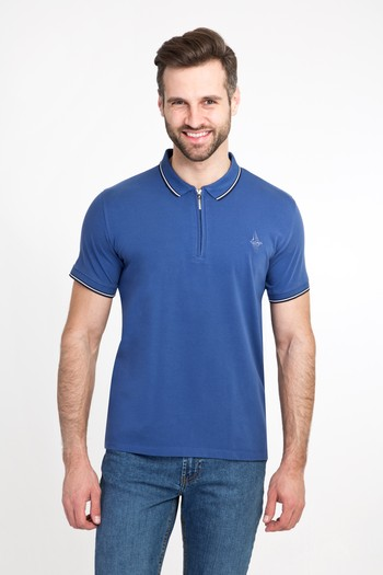 Erkek Giyim - Polo Yaka Fermuarlı Slim Fit Tişört