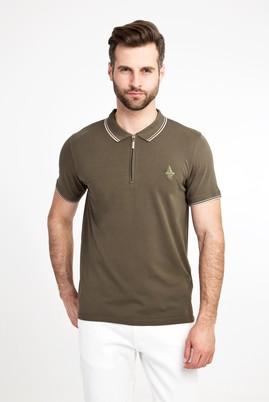 Erkek Giyim - ORTA HAKİ XL Beden Polo Yaka Fermuarlı Slim Fit Tişört