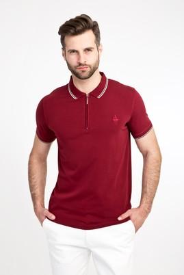 Erkek Giyim - KOYU BORDO L Beden Polo Yaka Fermuarlı Slim Fit Tişört