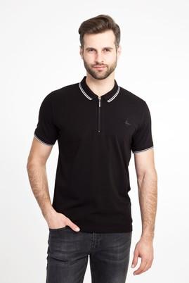 Erkek Giyim - SİYAH S Beden Polo Yaka Fermuarlı Slim Fit Tişört