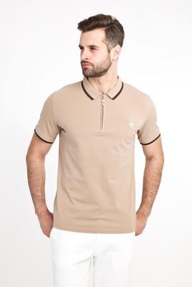 Erkek Giyim - ORTA BEJ S Beden Polo Yaka Fermuarlı Slim Fit Tişört