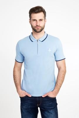 Erkek Giyim - İNDİGO S Beden Polo Yaka Fermuarlı Slim Fit Tişört