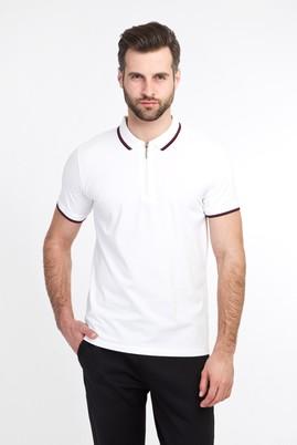 Erkek Giyim - BEYAZ L Beden Polo Yaka Fermuarlı Slim Fit Tişört