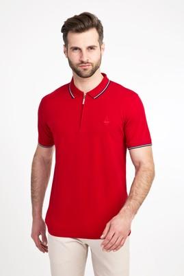 Erkek Giyim - BAYRAK KIRMIZI XL Beden Polo Yaka Fermuarlı Slim Fit Tişört