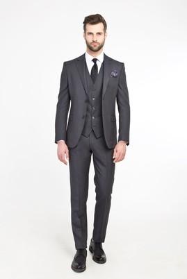 Erkek Giyim - Füme Gri 50 Beden Slim Fit Yelekli Kuşgözü Takım Elbise