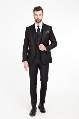 Erkek Giyim - Siyah 44 Beden Süper Slim Fit Yelekli Kuşgözü Takım Elbise
