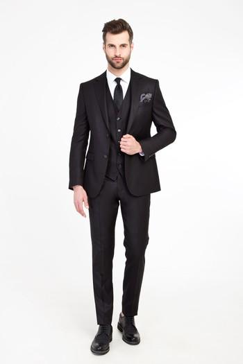 Erkek Giyim - Süper Slim Fit Yelekli Kuşgözü Takım Elbise