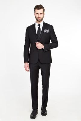 Erkek Giyim - SİYAH 56 Beden Slim Fit Bio Parfume Yünlü Takım Elbise