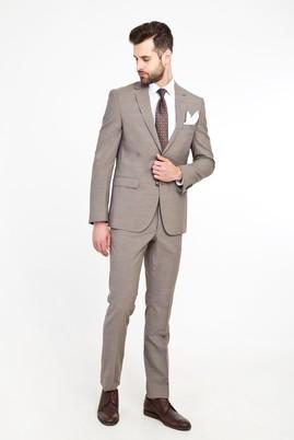 Erkek Giyim - AÇIK KAHVE 54 Beden Slim Fit Yünlü Takım Elbise