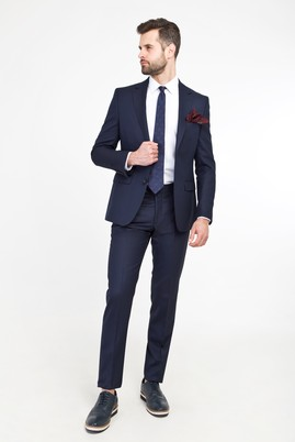 Erkek Giyim - KOYU LACİVERT 48 Beden Slim Fit Yünlü Takım Elbise