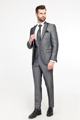 Erkek Giyim - AÇIK GRİ 52 Beden Yelekli Smokin / Damatlık