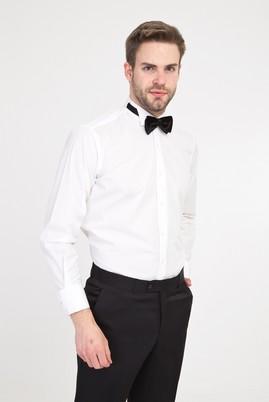 Erkek Giyim - BEYAZ XXL Beden Ata Yaka Klasik Gömlek